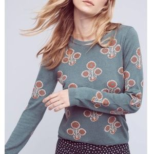 Anthro Field Flower Liatris Button Back Sweater M
